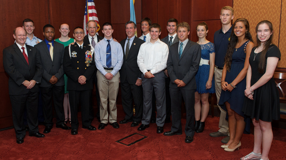 Sens. Tom Carper, Chris Coons and Rep. John Carney hosted a reception on Tuesday for Delaware students appointed to the U.S. service academies for the class of 2018 at the U.S. Capitol Visitor Center in Washington, D.C.