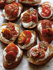 Za'atar Roasted Tomato Crostini with Labneh