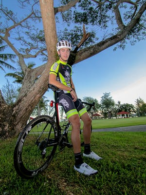 Photo of Jake Jones at the Nimitz Beach Park on Aug. 1. Jones will cycle for Lees-McRae College in North Carolina.