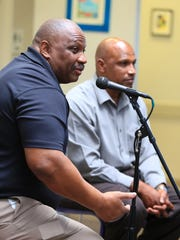 Anthony Toney (left), a North Salinas high school and Hartnell College alum, was drafted by the Philadelphia Eagles in 1986.