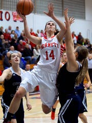 Maggie Deboy of Rossville puts up a runner in the second