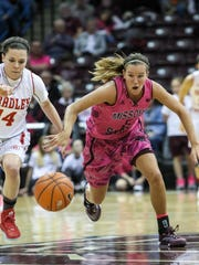 MSU Liza Fruendt chases a loose ball against Bradley