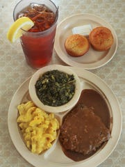 Country fried steak, mac and cheese, greens, cornbread