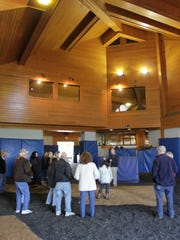 The breeding shed at Coolmore America in Versailles, Ky., where triple crown winner American Pharoah lives. Shed is a too modest word for the big facility.