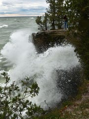 Photo of shoreline from fall at Cave Point Park, Door County