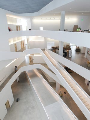 The interior of the new University of Iowa Visual Arts Building, next to Art Building West on Riverside Drive, is pictured on Monday, May 2, 2016.on Monday, May 2, 2016.