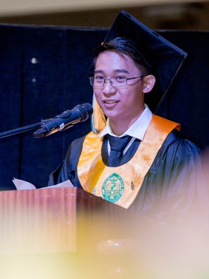 Kevin Martinez, class valedictorian, delivered the class address during the University of Guam's  commencement ceremony held at the Calvo Field House on May 22.
