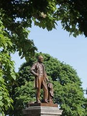 A monument to Michigan Governor Austin Blair, a celebrated governor who spoke out against slavery and for the rights of women,  served two terms from 1861-1864 during the Civil War was made by Edward Clark Porter of Massachusetts and unveiled on Oct. 12, 1898.