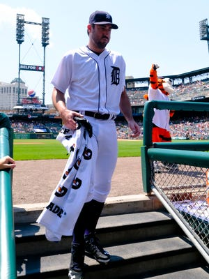 Detroit Tigers pitcher Justin Verlander enters the dugout prior to the game against the Minnesota Twins on July 20, 2016, at Comerica Park.