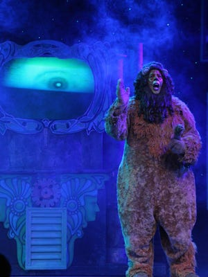"""Victor Legarreta as The Cowardly Lion in Broadway Palm's """"The Wizard of Oz"""""""