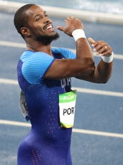 Jeff Porter (USA) reacts after competing during the men's 110-meter hurdles in the Rio 2016 Summer Olympic Games at Estadio Olimpico Joao Havelange on Monday.