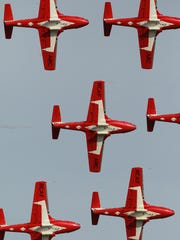 The Royal Canadian Snowbirds fly in a formation during the Anderson Regional Airshow.