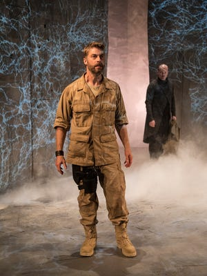 "Jamison Jones and James Joseph O'Neil in the Ensemble Theatre Company production of ""Macbeth."""