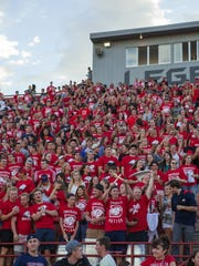 A crowd fills Trailblazers Stadium stands ahead of a football game. The school announced earlier this year it would be moving to Division I athletics and Western Athletic Conference (WAC) during the 2019-2020 school year.