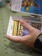 Cards are shuffled between readings at the Psychic