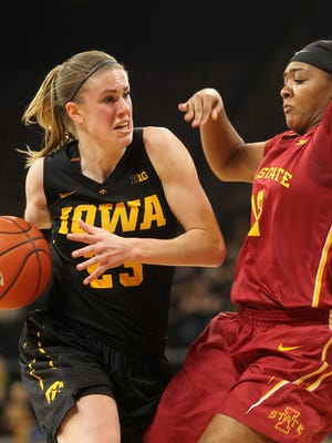 Iowa's Christina Buttenham drives past Iowa State's Seanna Johnson during their game at Carver-Hawkeye Arena on Wednesday, Dec. 7, 2016.