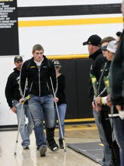 Mid-Prairie senior Levi Duwa is recognized before the