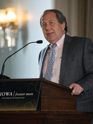 "University of Iowa President Bruce Harreld thanks donors for contributing to the near $2 billion raised during the ""For Iowa. Forever More."" campaign at the senate chambers of the Old Capitol Museum on Monday, Feb. 6, 2017."