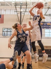 Lakeview's Ava Cook (11) goes for the hoop during first half action against Gull Lake Friday evening.