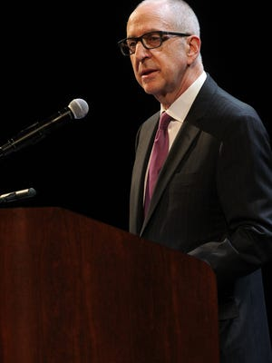 Former University of Iowa President David Skorton, who currently serves as secretary of the Smithsonian, speaks to guests at Hancher Auditorium on Thursday, March 30, 2017.