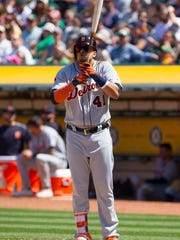 Tigers designated hitter Victor Martinez (41) gets