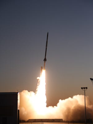 A Black Brant IX sounding rocket takes off Tuesday, May 16, from Wallops Flight Facility.