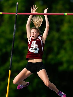 Henderson County's Jaci Bickett clears the bar at 13 feet during the girls pole vault event during the 2017 KHSAA Track & Field 3A State Meet at the University of Kentucky in Lexington, Ky., Saturday, May 20, 2017.