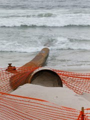 A beach replenishment pipe is in place near 7th Avenue in Ortley Beach Tuesday, May 23, 2017.