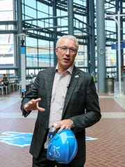 Detroit Lions President Rod Wood gives a tour of the