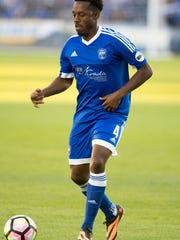 Jordan Murell with Reno 1868 FC plays against LA Galaxy II at Greater Nevada Field in Reno on July 3, 2017.