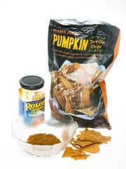 Pumpkin Tortilla Chips with pumpkin puree and pumpkin