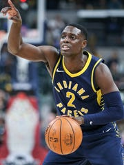 Indiana Pacers guard Darren Collison (2) directs a
