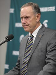 Michigan State football coach Mark Dantonio makes a
