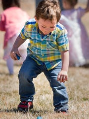 A young boy finds an Easter egg.