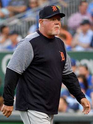 Detroit Tigers manager Ron Gardenhire (15) returns to the dugout in the third inning against the Kansas City Royals at Kauffman Stadium Friday, May 4, 2018.