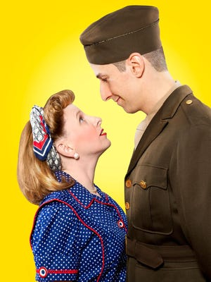 """Sara Catheryn Wolf as Beatrice and Michael Brian Ogden as Benedick in Shakespeare Royal Oak's """"Much Ado About Nothing,"""" which is set in post-World War II Detroit."""