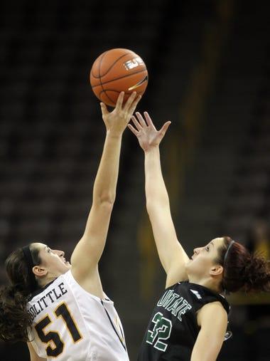 Iowa's Bethany Doolittle grabs the opening tip over