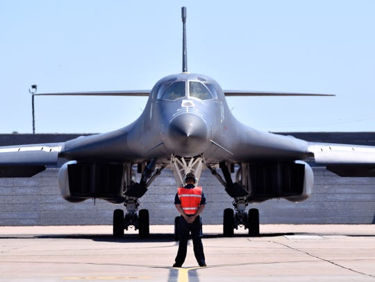 A Dyess Air Force Base B-1 bomber. The B1s have been at the base since the mid-1980s but will be replaced in coming years by the B-21.