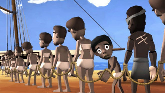 A screen shot from the educational video game Playing History 2: Slave Trade from Danish creator, Serious Games Interactive.