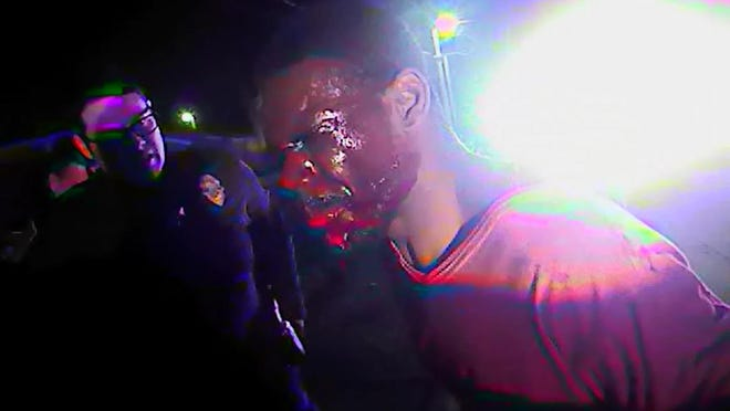 This image from a body camera recording shows Timothy Harris during an encounter with Topeka police in January 2018.