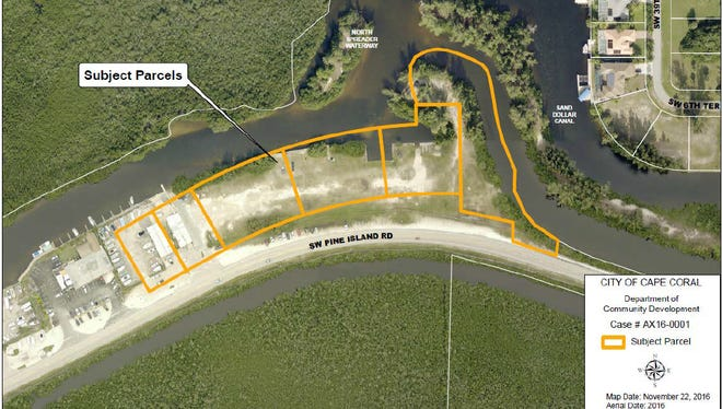 The six city-owned parcels Cape Coral City Council voted to annex into the city limits from unincorporated Lee County
