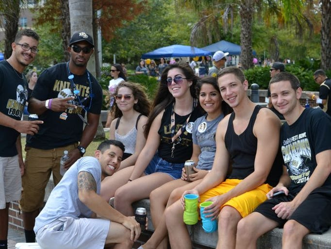 A group of Knights fans hang out during tailgate at