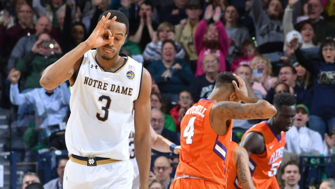 Notre Dame Fighting Irish forward V.J. Beachem (3) reacts after a three point basket in the second half against the Clemson Tigers at the Purcell Pavilion. Notre Dame won 75-70.
