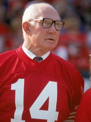 Pro Football Hall of Famer Y.A. Tittle attends a game between the San Francisco 49ers and New Orleans Saints at Candlestick Park in San Francisco in November 1992.