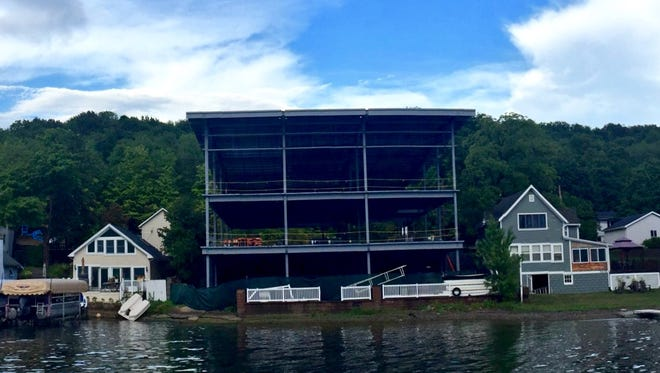 The steel shell of the new Conesus Inn. Construction on the project was halted by court order.
