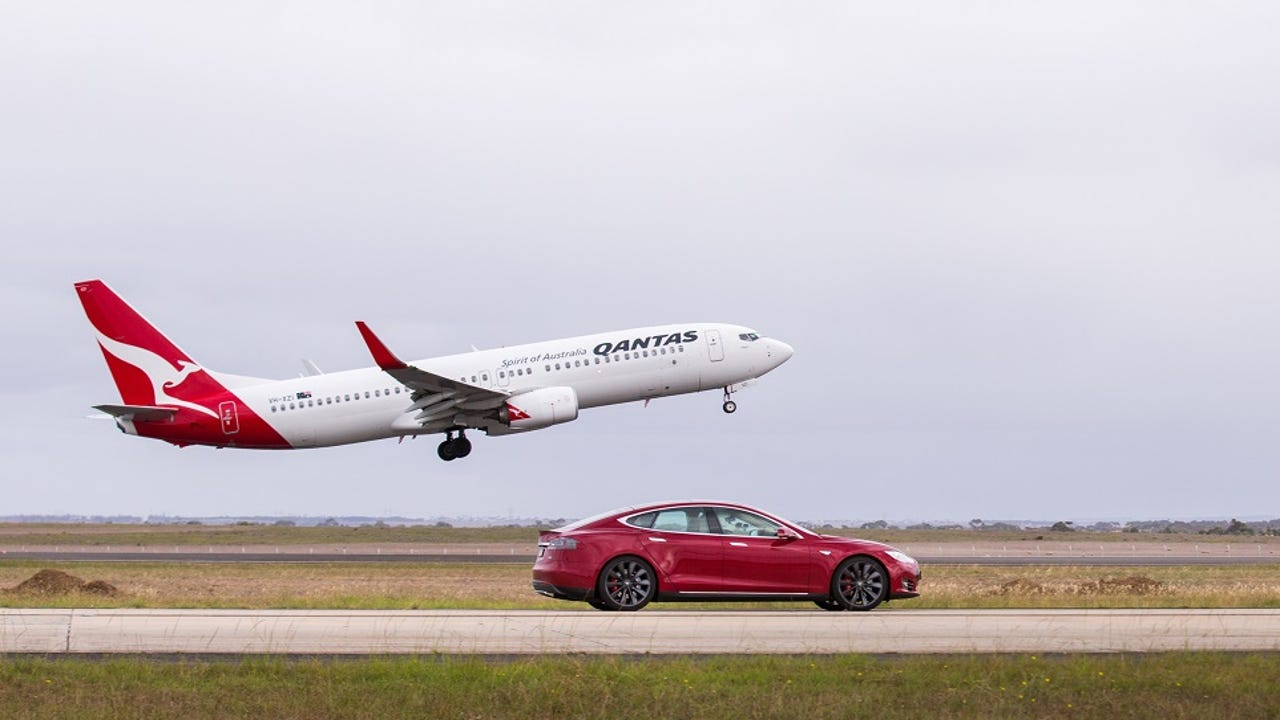 A Qantas Boeing 737 aircraft and a Tesla electric car race on the nearly 2 mile runway at Avalon Airport. The Tesla was hard to catch off the start.  Both travelled neck and neck as the 737 reached take-off speed of 161 mph and the Tesla hit 155 mph.