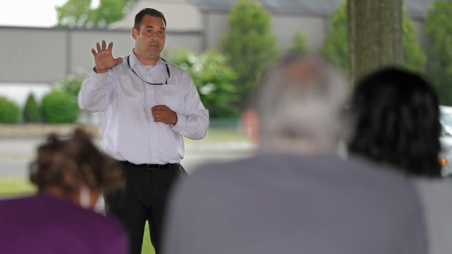 Mayor William Judge speaks to citizens during a discussion on race Thursday, June 18, 2020, in Barberton, Ohio.