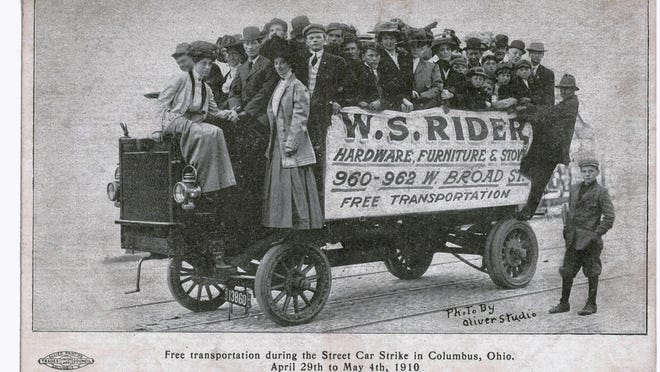 Columbus residents catch a free ride on a delivery truck belonging to the W.S. Rider Hardware Co. during the 1910 streetcar strike. The strike began April 29, 1910, when Columbus Railway and Light Co. employees went on strike over poor working conditions. They hoped to secure higher wages, job stability and union recognition. On Oct. 18, the union admitted defeat, and hundreds of workers either returned to work or found other employment.