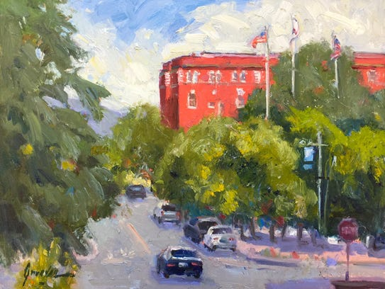 """""""Lorenz Hotel from Court Street"""" painted by Susan Greaves."""