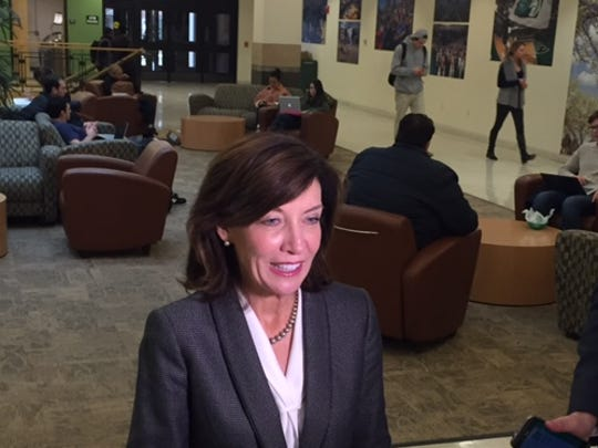 Lieutenant Governor Kathy Hochul speaks to reporters Tuesday at Binghamton University after she spoke to the Southern Tier Regional Economic Development Council.